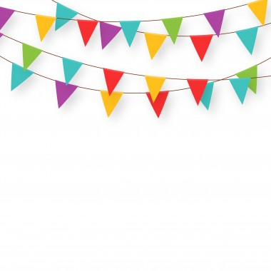Carnival garland with flags. Decorative colorful party pennants for birthday celebration, festival and fair decoration. Holiday background with hanging flags. Vector